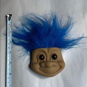 Vintage troll w blue hair face big brown eyes